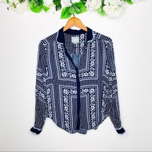 Anthropologie Maeve Button Down Long Sleeve Top